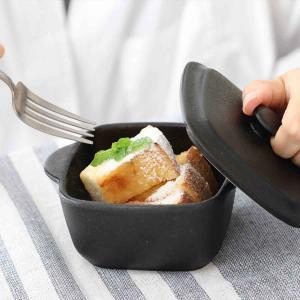 キャセロール 13cm 鋳物風 正方形 角型 フタ付 オーブンウェア 陶磁器 取っ手付 ( グラタン...