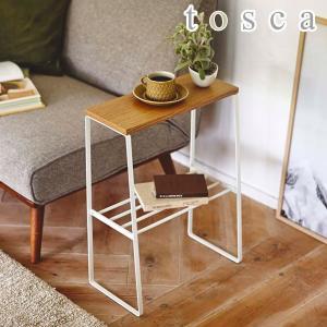 サイドテーブル トスカ tosca 幅42cm 木製 天然木 ラック付き 収納 スリム ( テーブル ナイトテーブル ソファサイド )|interior-palette