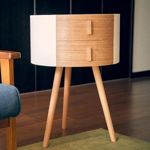 サイドテーブル 引き出し付き 丸型 木製 高さ65cm テーブル ( コーヒーテーブル ナイトテーブル 収納 )|interior-palette