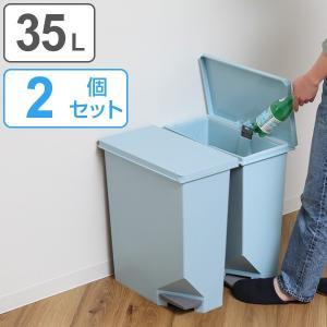 ゴミ箱 ユニード スイッチペダル 35L ブルー 同色2個セット 横型 縦型 ペダル式 ふた付き ( ごみ箱 キッチン スリム )|interior-palette