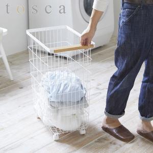 ランドリーバスケット トスカ キャスター付き ホワイト tosca ( 洗濯かご キャスター 脱衣かご )|interior-palette