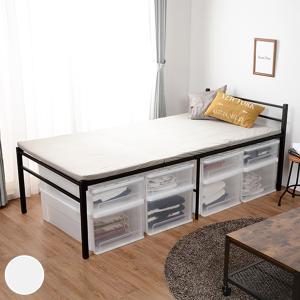 ベッド シングル スチールベット 床高 収納 コンセント付き パイプ ベット ( パイプベッド ベッド下収納 大容量 スチールベッド )|interior-palette