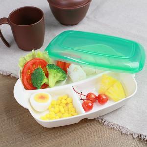 ランチプレート プラスチック 食器 フタ付きランチプレート 深め 角型 プレート 仕切り付き シニアベーシック ( 電子レンジ対応 食洗機対応 弁当箱 家弁 ) interior-palette
