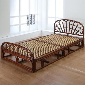 籐 シングルベッド ヘッダー・フッター有り ラタン家具 高さ26cm ( ラタンベッド すのこベッド セパレート式 シングル ) interior-palette