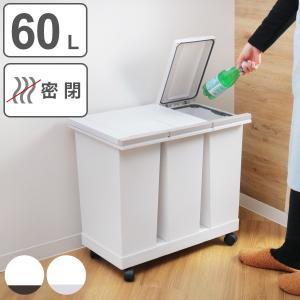 ゴミ箱 分別 3分別 20L 防臭 密閉 分別ゴミ箱 横型 キャスター付き ダストボックス 生ごみ ( キッチン ふた付き パッキン プッシュ 20 リットル )|interior-palette