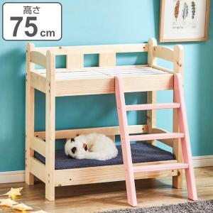 ペットベッド 高さ75cm 2段 ペット用 ベッド 2段ベッド 木製 天然木 すのこ ネコ用 犬用 ( ペット ベット ペットベット ペット用ベッド 木製ベッド 幅 70 )|interior-palette
