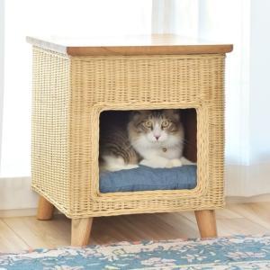 ペットスツール ラタン スツール サイドテーブル ペット ハウス ペット用 角型 クッション ( ペットハウス 犬 猫 ネコ 椅子 チェア ペット用ハウス 籐 ) interior-palette