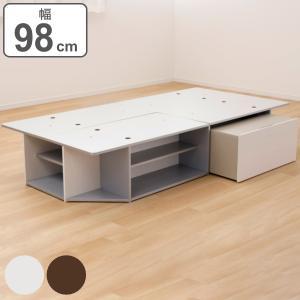 ベッド シングル ヘッドレス サイドテーブル付き 組み立て 簡単 収納 ラック ベット フレーム ( シングルベッド 収納付き ベッドフレーム 収納ベッド )|interior-palette