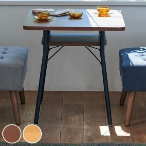 ダイニングテーブル 幅65cm ミルド ダイニング テーブル 木目調 スチール脚 棚 ラック 収納 ( 机 食卓 2人掛け ソファテーブル カフェテーブル 正方形 ) interior-palette