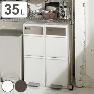 ゴミ箱 35L 分別 スイングステーション ワイド 2段 ( 35 リットル ダストボックス ごみ箱 キッチン ふた付き 分別ゴミ箱 縦型 スリム コンパクト )|interior-palette