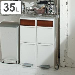 ゴミ箱 35L 分別 スイングステーション ワイド 木目調パネル 2段 ( 35 リットル ダストボックス ごみ箱 キッチン ふた付き スリム コンパクト )|interior-palette