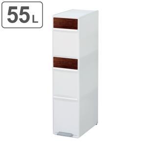 ゴミ箱 55L 分別 スイングステーション ワイド 木目調パネル 3段 ( 55 リットル ダストボックス ごみ箱 キッチン ふた付き スリム コンパクト )|interior-palette
