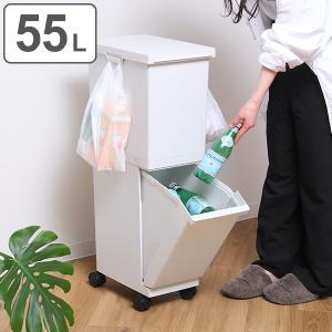 ゴミ箱 55L 2段 セパ 分別ゴミ箱 5分別 ( 55 リットル 抗菌 分別 ダストボックス 収納 ストッカー ストック 保管 ごみ箱 キッチン ふた付き 縦型 スリム )|interior-palette