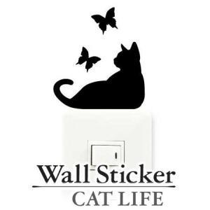 ウォールステッカー 壁紙シール 猫 蝶 CAT LIFE ( インテリアシール ウォールシール Wall story コンセント )|interior-palette