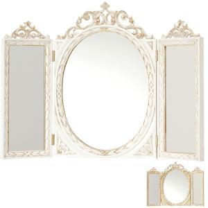 三面鏡 卓上型 イタリア製 テーブルミラー 幅61cm ( 鏡 ミラー 姿見 3面鏡 卓上鏡 姫系 ロココ風 )|interior-palette