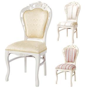 ダイニングチェア 椅子 クラシック調 姫系 Fiore アラベスク模様 白家具 座面高48cm ( 猫脚 ロマンチック 輸入家具 ヨーロピアン )|interior-palette