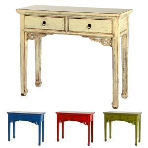 コンソールテーブル サイドテーブル シャビー調 木製 ラフール 幅102cm ( 電話台 FAX台 李朝家具 輸入家具 クラシック調 レトロ )|interior-palette