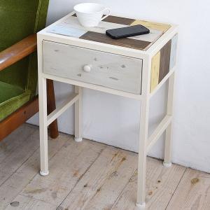 サイドテーブル コンソールテーブル CHROME 天然木 スチールフレーム 幅37.5cm ( テーブル 引き出し付 木製天板 アイアンフレーム チェスト )|interior-palette