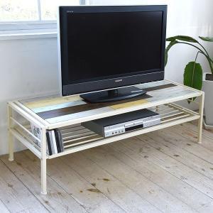 テレビ台 ローボード CHROME 天然木 スチールフレーム 幅120cm ( テレビボード TV台 TVボード AV収納 AVボード )|interior-palette