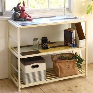 オープンラック 3段 CHROME 天然木 スチールフレーム 幅90cm ( ラック 収納棚 棚 ディスプレイラック ディスプレーラック )|interior-palette