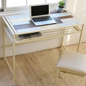 デスク パソコンデスク CHROME 天然木 スチールフレーム 幅100cm ( PCデスク 机 木製天板 収納スペース付 ハイデスク )|interior-palette