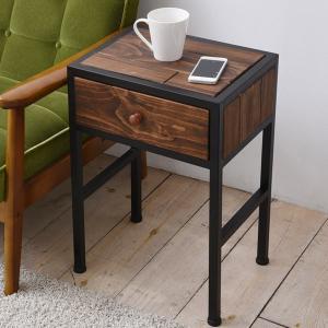 サイドテーブル コンソールテーブル GRANT 天然木 スチールフレーム 幅37.5cm ( テーブル 引き出し付 木製天板 アイアンフレーム )|interior-palette