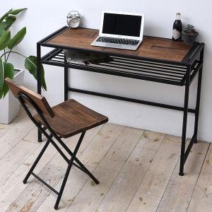 デスク パソコンデスク GRANT 天然木 スチールフレーム 幅100cm ( PCデスク 机 木製天板 収納スペース付 ハイデスク )|interior-palette