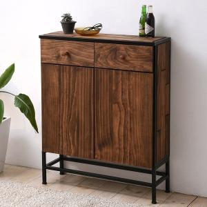 チェスト 2段 開き戸 引出し 2杯 GRANT 天然木 スチールフレーム 幅120cm ( リビングチェスト キャビネット 玄関収納 木製 )|interior-palette