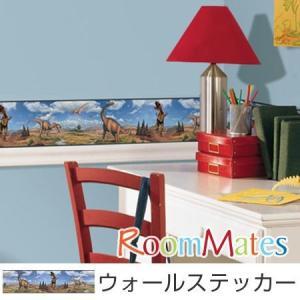ウォールステッカー 壁紙シール ボーイズ ダイナソー 恐竜 縦12.7×横457cm ルームメイツ ( インテリアシール ウォールシール 子供部屋 )|interior-palette