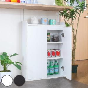 扉付き 収納棚 棚 可動棚 幅60cm 茶 白 キッチン リビング ダイニング ( カウンター下 カウンター 窓下収納 キャビネット )|interior-palette