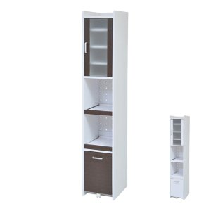 キッチンスリムラック 隙間ミニキッチン 高さ180cm ( キッチン収納 食器棚 カップボード すきま収納 扉付き )|interior-palette
