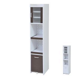 キッチンスリムラック 隙間ミニキッチン 高さ160cm ( キッチン収納 食器棚 カップボード すきま収納 扉付き )|interior-palette