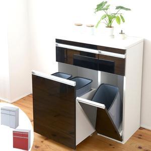 カウンターワゴン ダストボックス付 Parl(パール) 幅75cm ( キッチン収納 キッチンカウンター ゴミ箱 )|interior-palette
