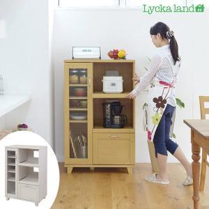 キッチンラック レンジ台 北欧風 Lycka land(リュッカ ランド) 幅75cm ( リビングボード キッチン収納家具 ) interior-palette