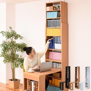 【週末限定クーポン】デスク 突っ張り 本棚 高さ調節 壁面収納 ( 収納 つっぱり 棚 薄型 机 パソコンデスク )|interior-palette