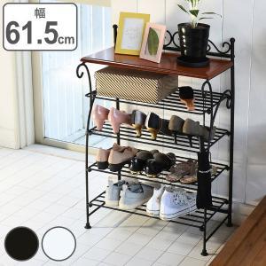 シューズラック 4段 ロートアイアン 幅41.5cm ( 靴 収納 玄関収納 下駄箱 棚 )|interior-palette