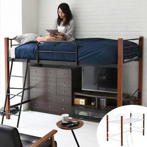 【週末限定クーポン】シングルベッド ハイタイプ 天然木脚 高さ140cm ( シングルベッド スチールベッド スチールベット ベット ) interior-palette