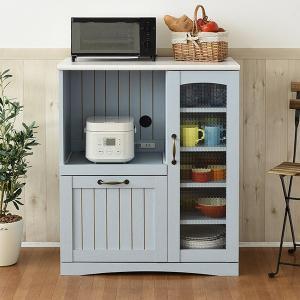 キッチンカウンター 家電収納 カントリー調 フレンチスタイル 幅75cm ( レンジ台 家電収納 食器棚 おしゃれ ブルー 水色 )|interior-palette