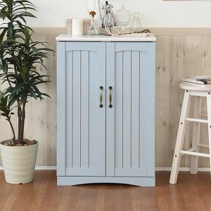 キャビネット 両開き 収納棚 カントリー調 フレンチスタイル 幅60cm ( リビング収納 収納棚 アンティーク おしゃれ ブルー 水色 ) interior-palette