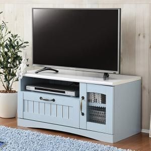 テレビ台 ローボード カントリー調 フレンチスタイル 幅80cm ( TV台 TVラック コンパクト シャビーシック アンティーク おしゃれ ブルー 水色 )|interior-palette