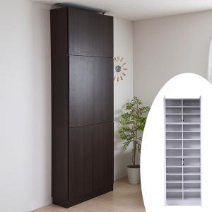 本棚 ブックシェルフ 1cmピッチ 深型 扉付棚 幅81cm 上置きセット ( 書棚 壁面収納 リビング収納 ラック )|interior-palette
