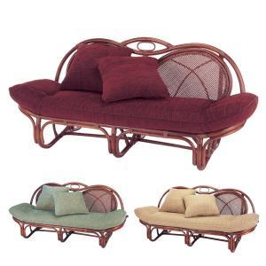 籐 カウチソファ ラタン製 マホガニーブラウン 幅158cm ( アジアン家具 籐家具 ソファ ソファー )|interior-palette