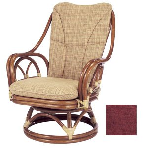 ラタンチェア 回転座椅子 背もたれクッション付 シィーベルチェア 座面高38cm
