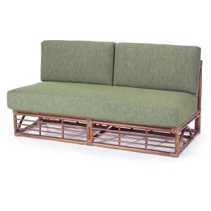 籐 ソファ 2人掛け 肘なし ラタン製 幅150cm ( アジアン家具 籐家具 ソファー )|interior-palette