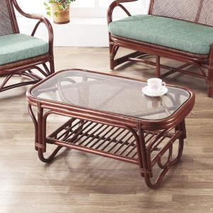 籐 ガラステーブル ラタン製 幅89cm ( アジアン家具 ラタン家具 テーブル ) interior-palette