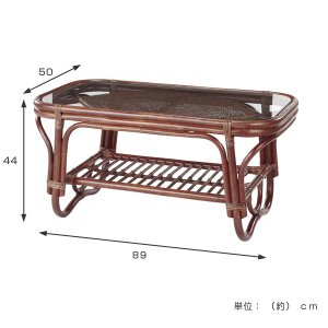 籐 ガラステーブル ラタン製 幅89cm ( アジアン家具 ラタン家具 テーブル ) interior-palette 02
