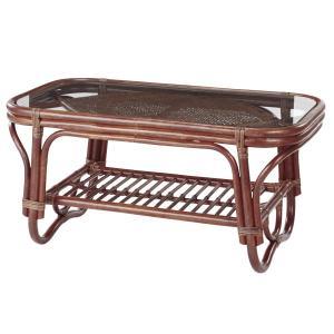 籐 ガラステーブル ラタン製 幅89cm ( アジアン家具 ラタン家具 テーブル ) interior-palette 05