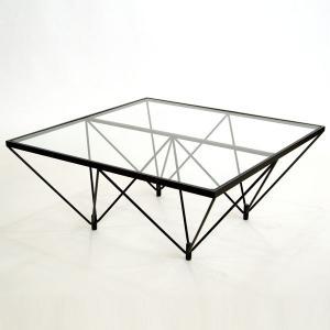ガラステーブル ロータイプ 80cm角型 ( センターテーブル リビングテーブル ) interior-palette