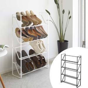 シューズラック 省 スペース スリム フレーム4段 ( 伸縮式 シューズボックス 靴 くつ ブーツ 収納 山崎実業 )|interior-palette
