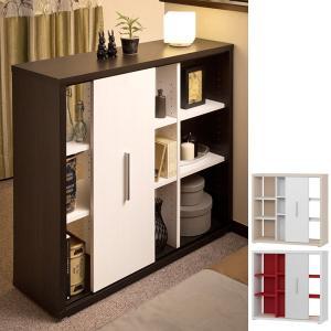 収納棚 引戸付 3段 デザインシェルフ コルタ ( 本棚 書棚 間仕切り オープンラック )|interior-palette